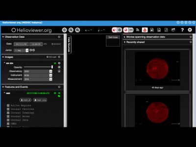 Aperçu d'Helioviewer, l'outil de visualisation d'imagerie solaire de MEDOC